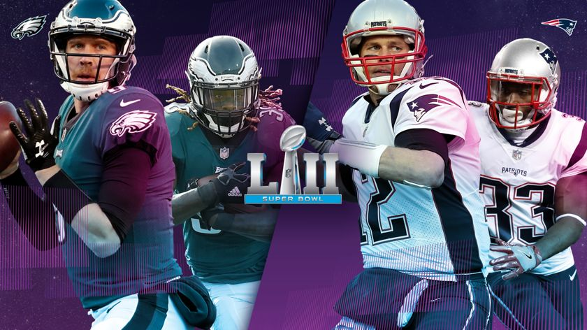A creative image of Patriots and Eagles players with the Super Bowl LII logo.