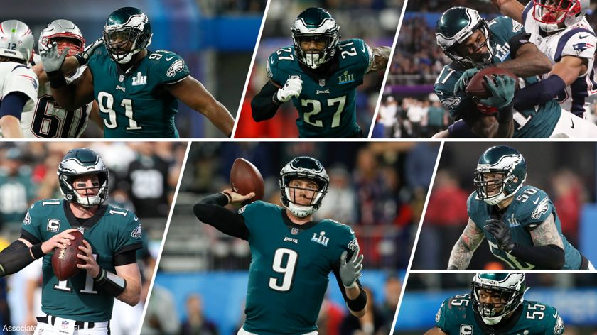 A creative image of Nick Foles, Fletcher Cox, Alshon Jeffery, Carson Wentz, Chris Long, Malcolm Jenkins and Brandon Graham