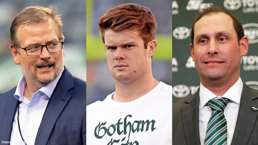 A creative image of Mike Maccagnan, Sam Darnold and Adam Gase.