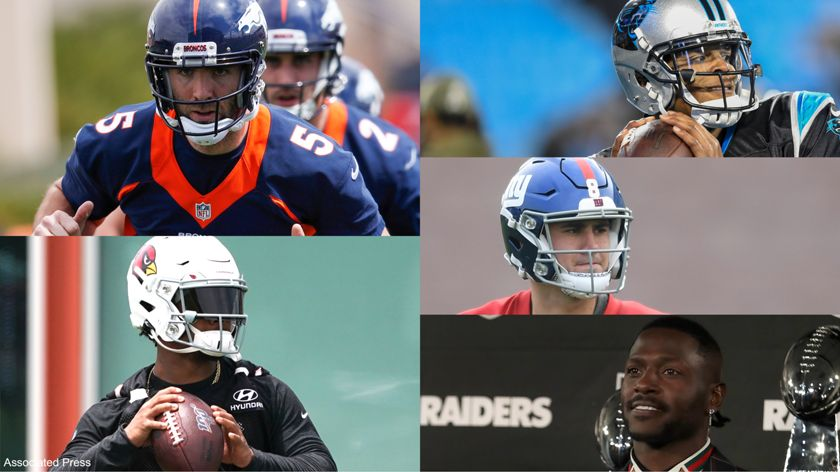 A creative split image of Joe Flacco, Kyler Murray, Cam Newton, Daniel Jones, and Antonio Brown